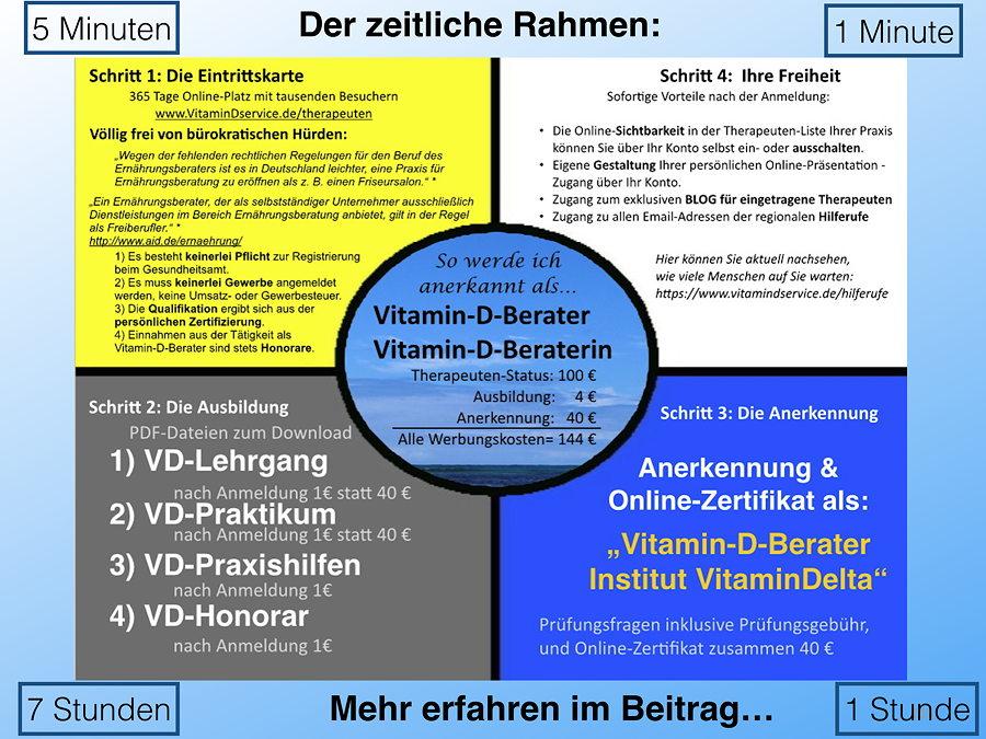wie viel zeit brauche ich f r die ausbildung zum vitamin d. Black Bedroom Furniture Sets. Home Design Ideas